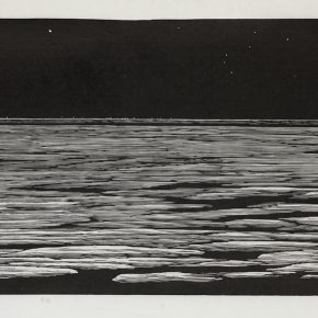 23 Song Yuanwen, Cold Night, 2008; black and white woodcut, 42×76cm