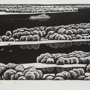 Song Yuanwen, The First Snow in Heilongjiang province, 1980; black and white woodcut, 32×64cm
