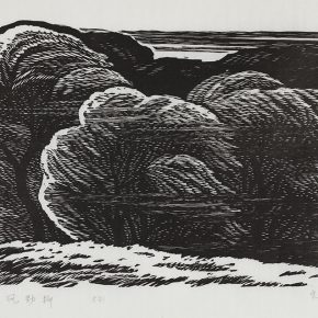 30 Song Yuanwen, Tough Willow in Strong Wind, 1980; black and white woodcut, 56×37cm