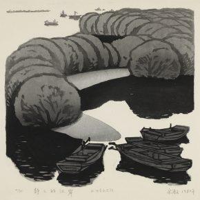 32 Song Yuanwen, Silent River Bank, 1982; woodblock print, 38×36cm