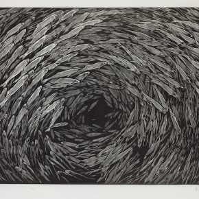 34 Song Yuanwen, Gathering, 2003; black and white woodcut, 55×78cm