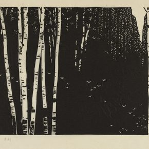 35 Song Yuanwen, The Song of Empty Forest, 1982; black and white woodcut, 30×56cm