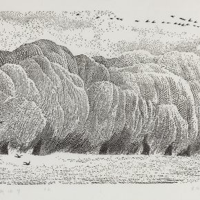 Song Yuanwen, Dream of Willows, 1990; woodcut. 66×46cm