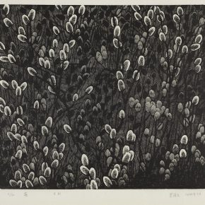 40 Song Yuanwen, Sprout, 2005; black and white woodcut, 45×51cm