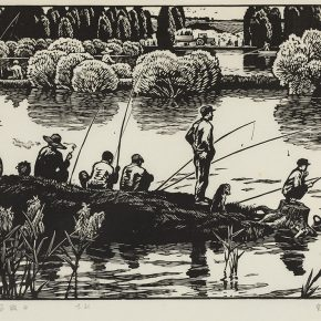 Song Yuanwen, Farm Holiday, 1979; black and white woodcut, 49×35cm