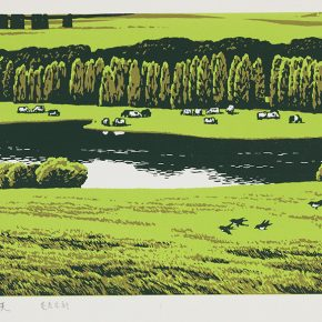 Song Yuanwen, Summer, 1980; colored woodcut, 49×28cm