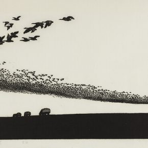 51 Song Yuanwen, Wild Goose Honk in the Sky, 1984; black and white woodcut, 42×71cm