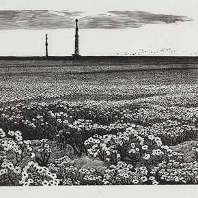 52 Song Yuanwen, Where Wild Flowers Blossom, 1992; black and white woodcut, 85×45cm