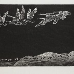 Song Yuanwen, Long Journey in the Sky, 1994; black and white woodcut, 42×76cm