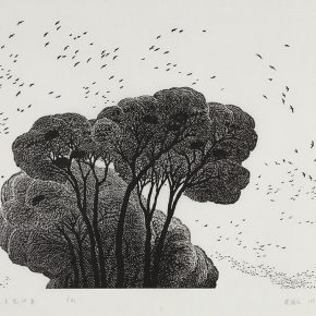 53 Song Yuanwen, Looking for Nests in the Sky, 1991; black and white woodcut, 71×45cm