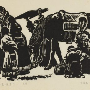55 Song Yuanwen, Teacher Drolma is coming, 1981; black and white woodcut, 45×28cm