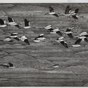 Song Yuanwen, Flyover, 2015; black and white woodcut, 85×180cm