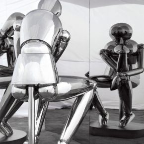 Pang Maokun, The Thinker, 2015; Stainless Steel, 160x80x90cm