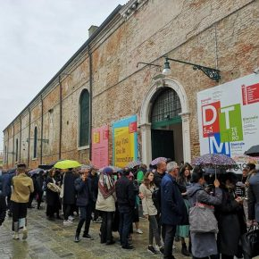 Visitors were queuing outside the entrance of Arsenale to view the exhibition