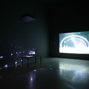 Bertrand Lamarche, The Funnel Stage, 2008-2015; Live video installation, table, camera, engines, TV monitor, video projection, Variable dimensions