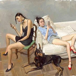 """Chen Danqing Smartphones 2016 Oil on canvas 180x160cm 290x290 - Tang Contemporary Art presents """"Chen Danqing: Disguise and Paintings from Life"""" in Hong Kong"""