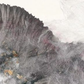 Hu Wei, Mists Over Huangshan (detail), 2015; Xuan Paper, ink, silk