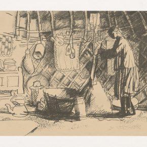 Long Liyou, Stirring Milk, Screen Print, 17.1×24.5cm