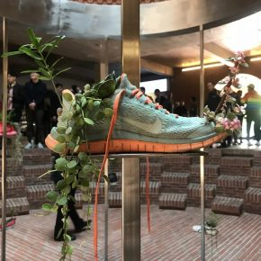 Michel Blazy, Running Beijing, 2019; Sport shoes, plants, soil, water, tiered shelf made of stainless steel