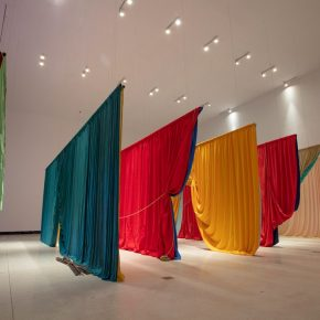 Ulla von Brandenburg, Two Times Seven II, 2018; Fabrics, ropes, ladder, wooden benches, fishing rods, super 16mm film to HD video, colour, sound (10')