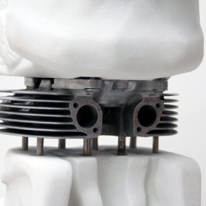 Tian Mu Distorted Tongue (detail) 2018 Marble, Engine Cylinder Head, Metal Poles, Stone 24×28×89cm