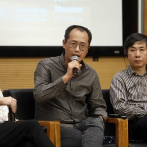 Qiu Zhijie, Dean of the School of Experimental Art at CAFA, was giving a speech